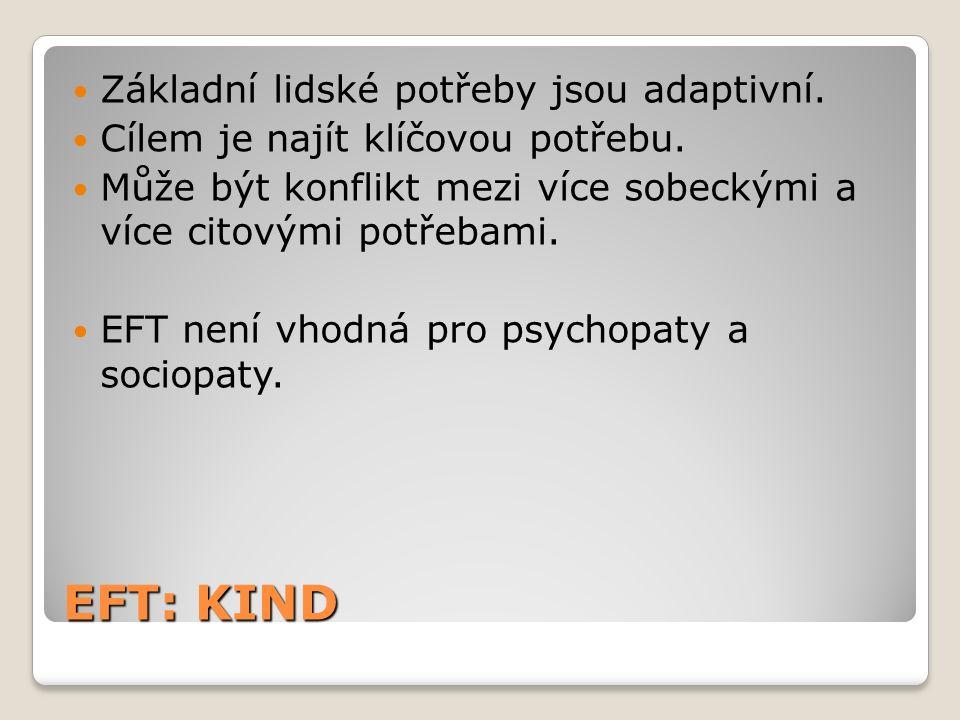 EFT: KIND Základní lidské potřeby jsou adaptivní. Cílem je najít klíčovou potřebu.