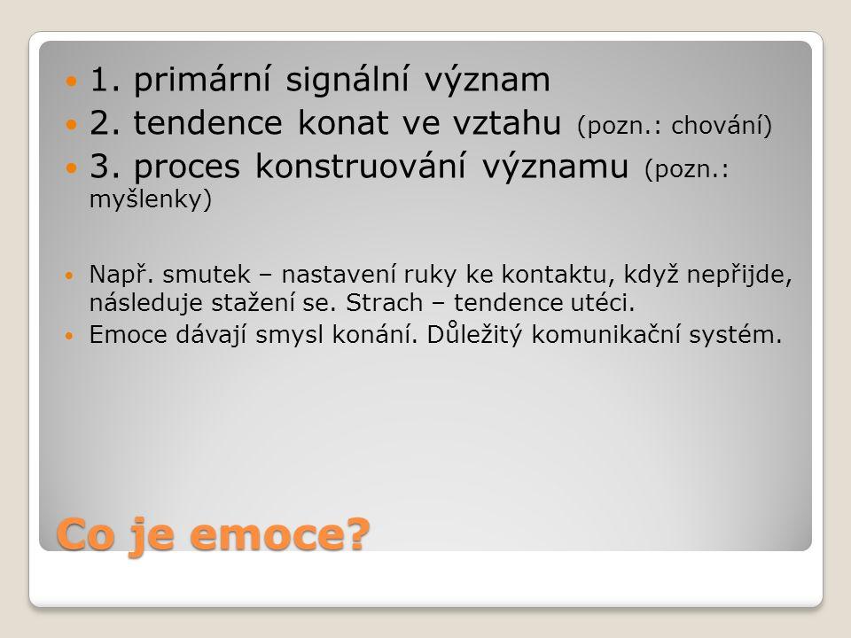 Co je emoce. 1. primární signální význam 2. tendence konat ve vztahu (pozn.: chování) 3.