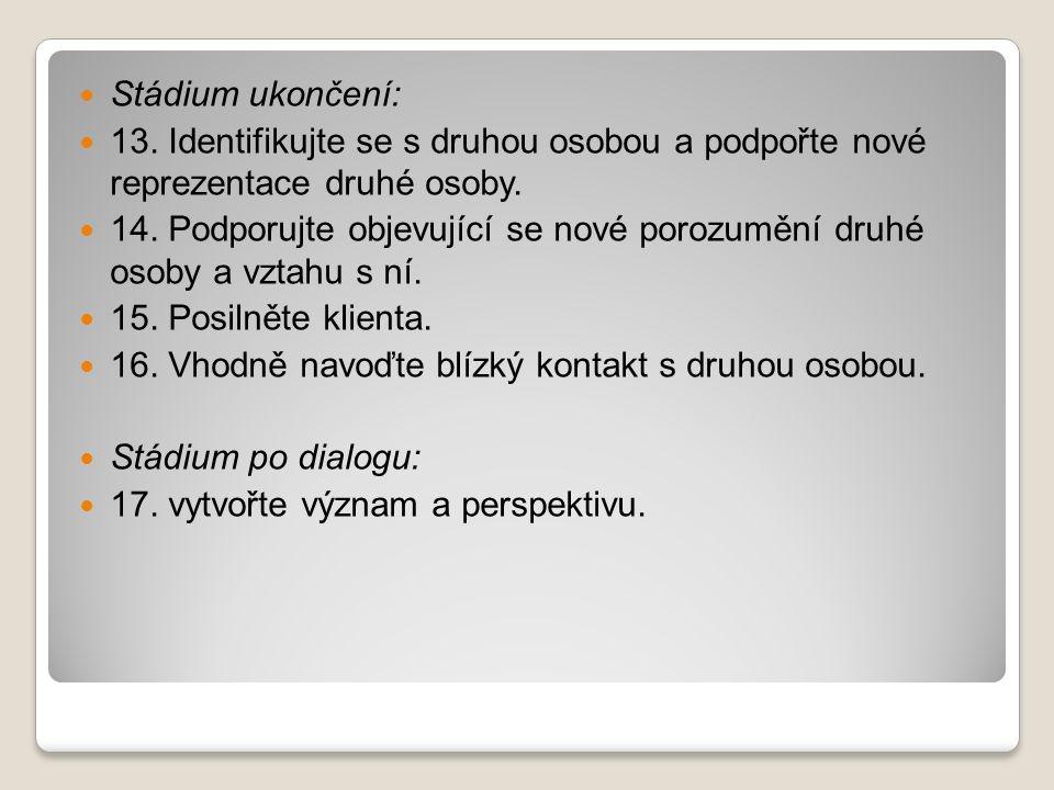 Stádium ukončení: 13.Identifikujte se s druhou osobou a podpořte nové reprezentace druhé osoby.