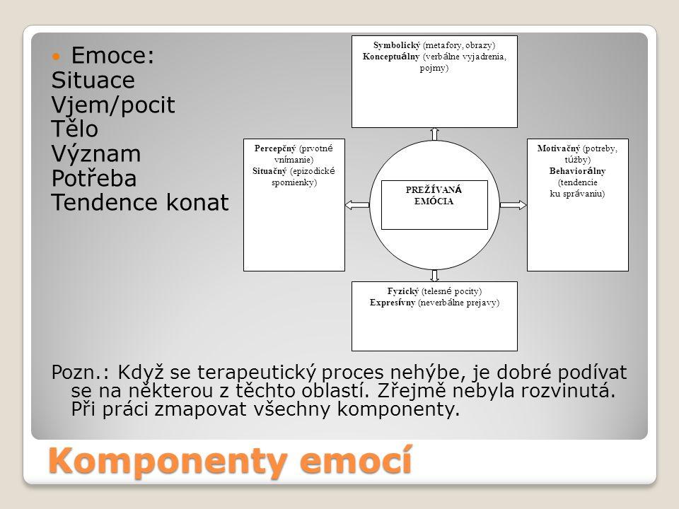 Komponenty emocí Emoce: Situace Vjem/pocit Tělo Význam Potřeba Tendence konat Pozn.: Když se terapeutický proces nehýbe, je dobré podívat se na některou z těchto oblastí.