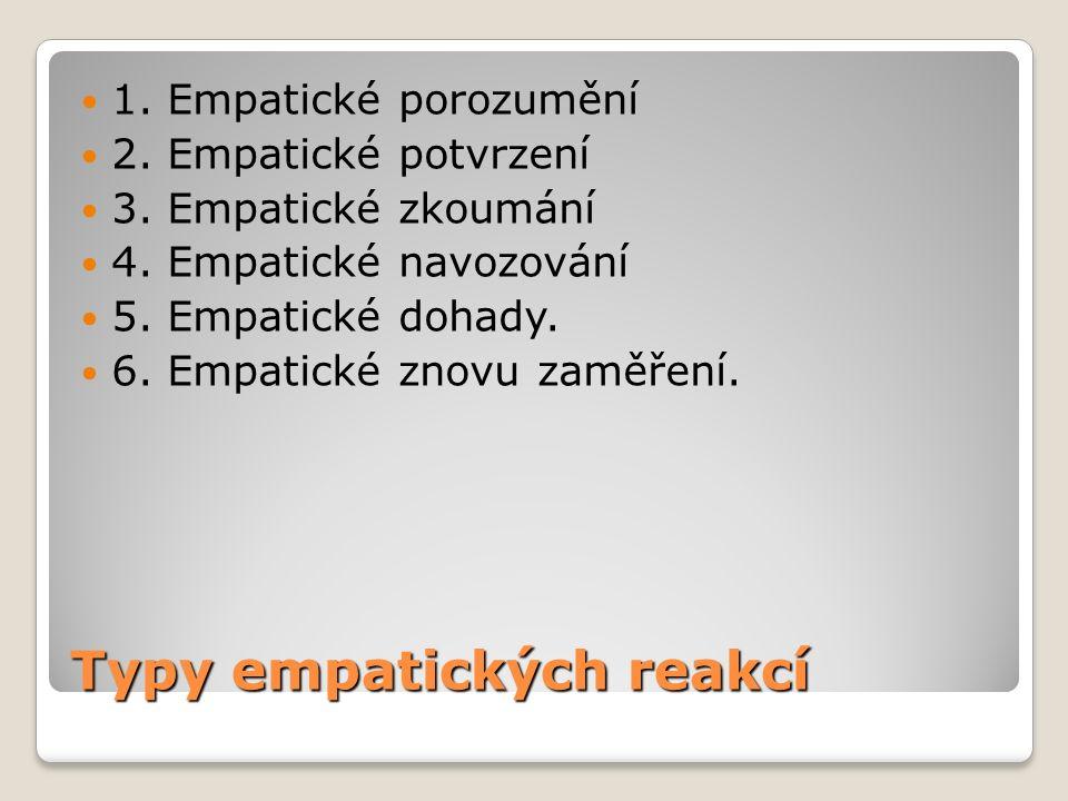 Typy empatických reakcí 1. Empatické porozumění 2.