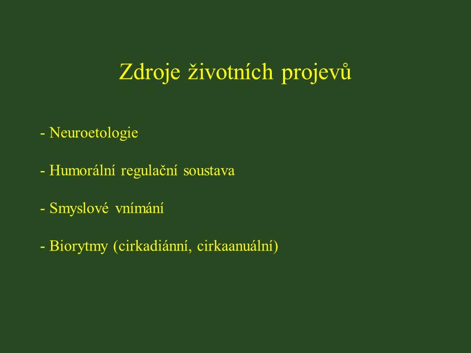 Zdroje životních projevů - Neuroetologie - Humorální regulační soustava - Smyslové vnímání - Biorytmy (cirkadiánní, cirkaanuální)