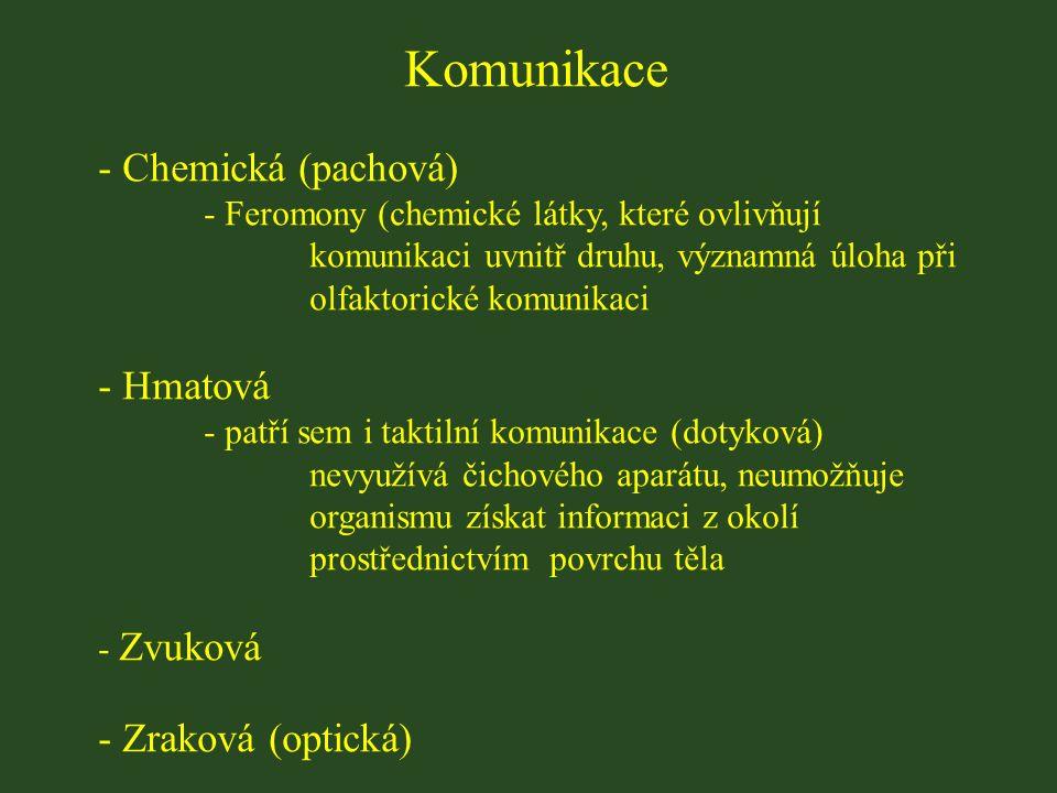 Komunikace - Chemická (pachová) - Feromony (chemické látky, které ovlivňují komunikaci uvnitř druhu, významná úloha při olfaktorické komunikaci - Hmatová - patří sem i taktilní komunikace (dotyková) nevyužívá čichového aparátu, neumožňuje organismu získat informaci z okolí prostřednictvím povrchu těla - Zvuková - Zraková (optická)