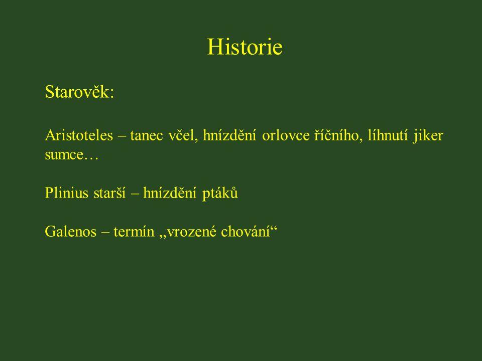 """Historie Starověk: Aristoteles – tanec včel, hnízdění orlovce říčního, líhnutí jiker sumce… Plinius starší – hnízdění ptáků Galenos – termín """"vrozené chování"""