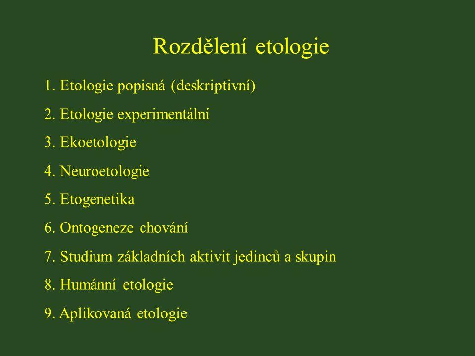 Rozdělení etologie 1. Etologie popisná (deskriptivní) 2.