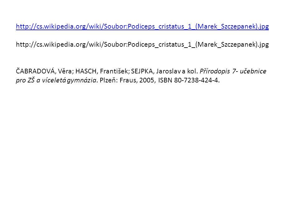 http://cs.wikipedia.org/wiki/Soubor:Podiceps_cristatus_1_(Marek_Szczepanek).jpg ČABRADOVÁ, Věra; HASCH, František; SEJPKA, Jaroslav a kol. Přírodopis
