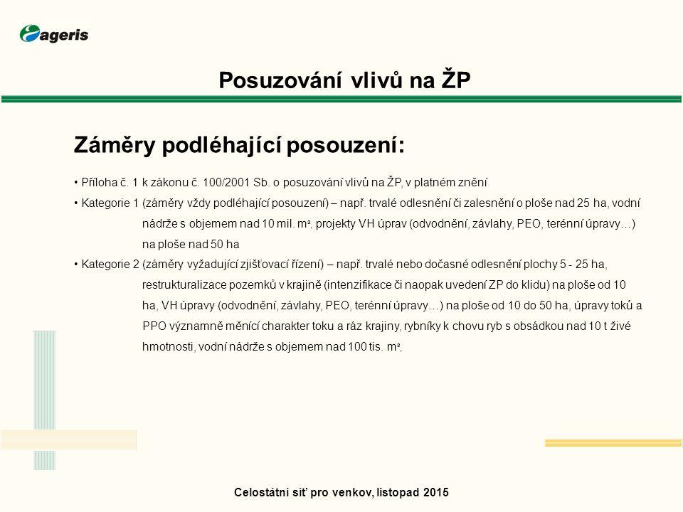 Posuzování vlivů na ŽP Záměry podléhající posouzení: Příloha č.
