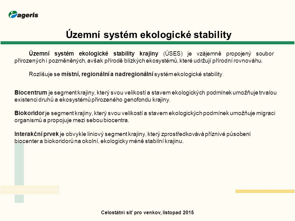 Celostátní síť pro venkov, listopad 2015 Územní systém ekologické stability