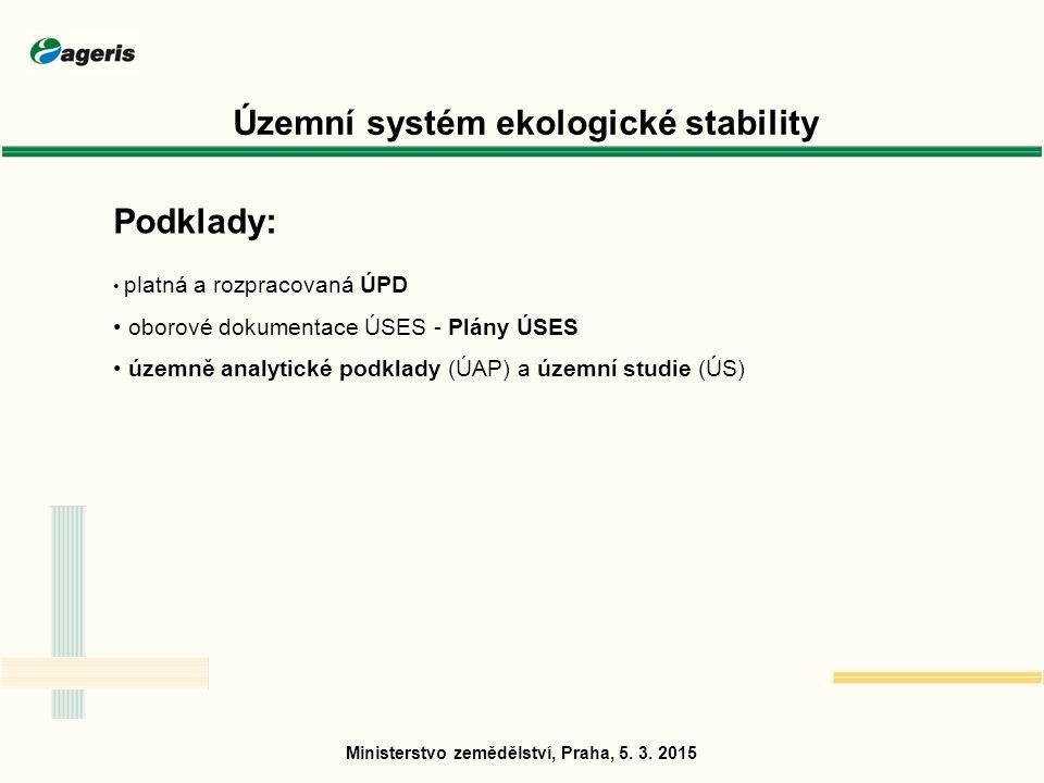 Podklady: platná a rozpracovaná ÚPD oborové dokumentace ÚSES - Plány ÚSES územně analytické podklady (ÚAP) a územní studie (ÚS) Ministerstvo zemědělství, Praha, 5.