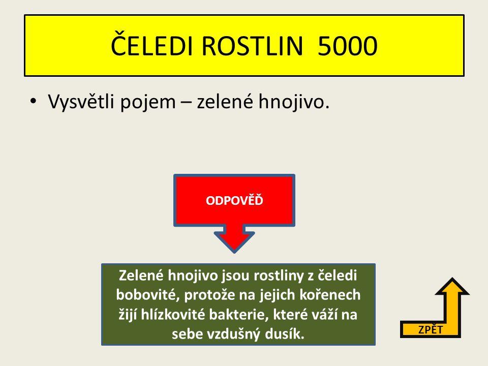 ČELEDI ROSTLIN 4000 Jmenuj tři čeledi dvouděložných rostlin.