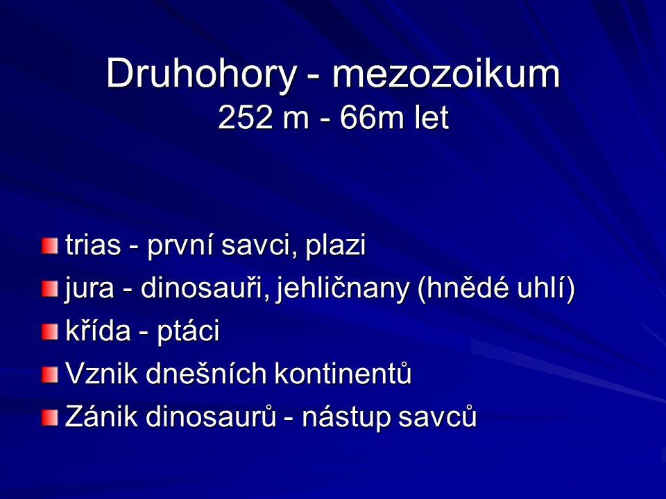 Druhohory - mezozoikum 252 m - 66m let trias - první savci, plazi jura - dinosauři, jehličnany (hnědé uhlí) křída - ptáci Vznik dnešních kontinentů Zánik dinosaurů - nástup savců