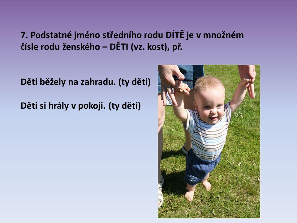 7. Podstatné jméno středního rodu DÍTĚ je v množném čísle rodu ženského – DĚTI (vz.