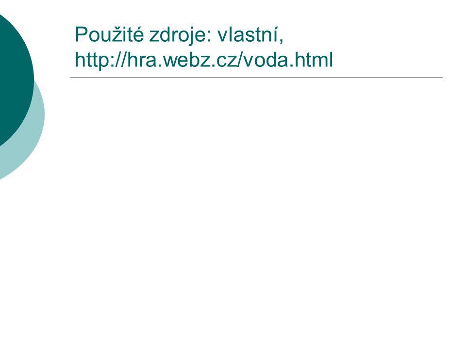 Použité zdroje: vlastní, http://hra.webz.cz/voda.html