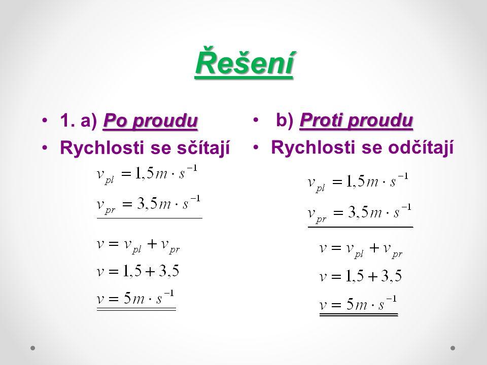 Řešení Po proudu1. a) Po proudu Rychlosti se sčítají Proti proudu b) Proti proudu Rychlosti se odčítají