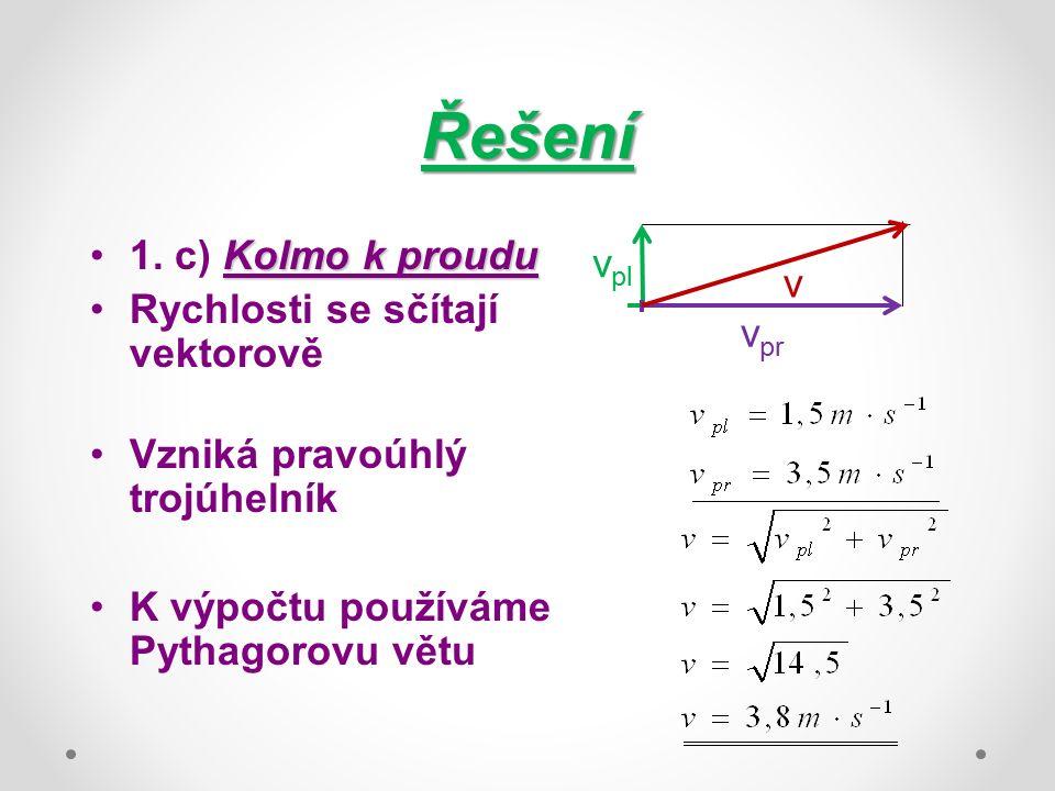 Řešení Kolmo k proudu1. c) Kolmo k proudu Rychlosti se sčítají vektorově Vzniká pravoúhlý trojúhelník K výpočtu používáme Pythagorovu větu v pl v pr v