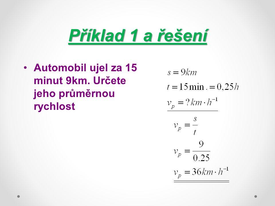 Příklad 1 a řešení Automobil ujel za 15 minut 9km. Určete jeho průměrnou rychlost