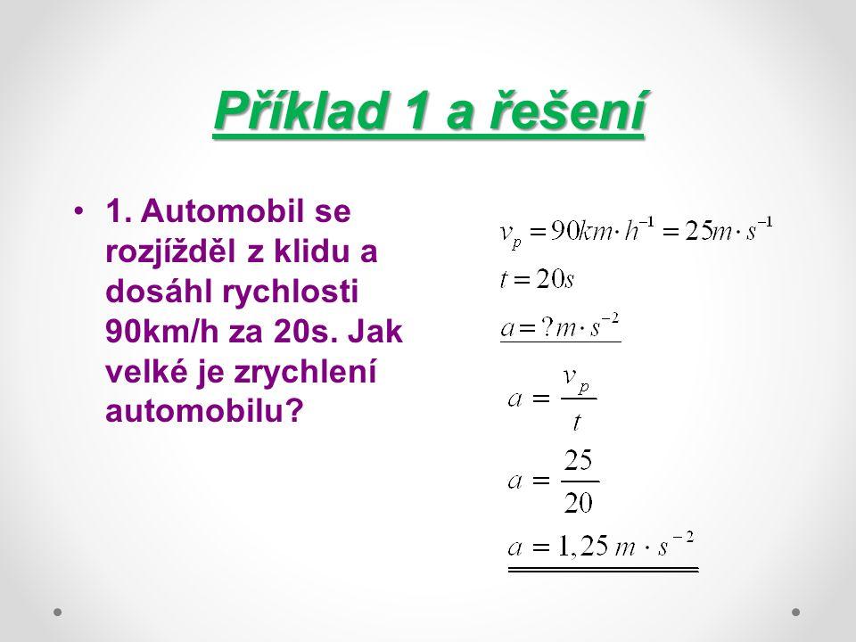 Příklad 1 a řešení 1. Automobil se rozjížděl z klidu a dosáhl rychlosti 90km/h za 20s. Jak velké je zrychlení automobilu?