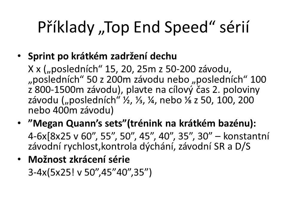 """Příklady """"Top End Speed sérií Sprint po krátkém zadržení dechu X х (""""posledních 15, 20, 25m z 50-200 závodu, """"posledních 50 z 200m závodu nebo """"posledních 100 z 800-1500m závodu), plavte na cílový čas 2."""