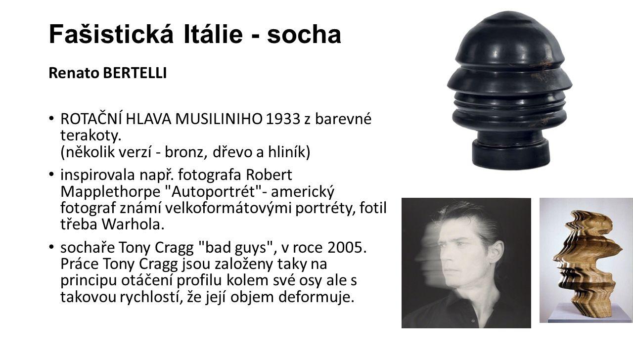 Fašistická Itálie - socha Renato BERTELLI ROTAČNÍ HLAVA MUSILINIHO 1933 z barevné terakoty.