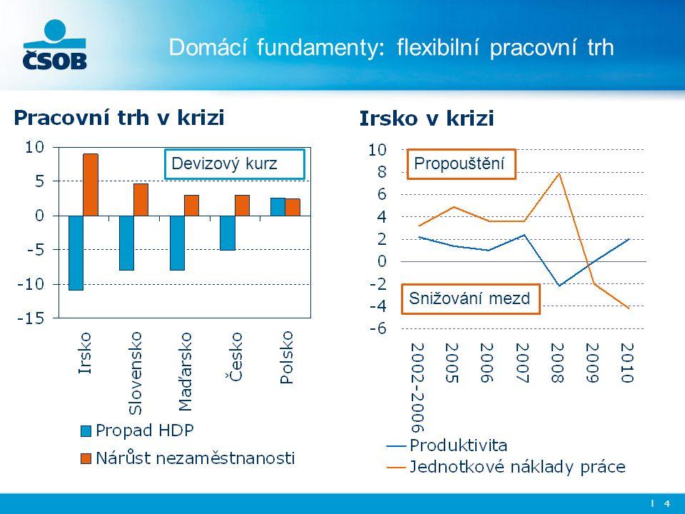 Domácí fundamenty : flexibilní pracovní trh l 4 Propouštění Snižování mezd Devizový kurz