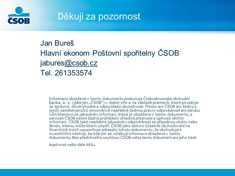 D ěkuji za pozornost Jan Bureš Hlavní ekonom Poštovní spořitelny ČSOB jabures@csob.cz@csob.cz Tel.
