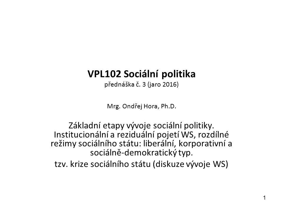 VPL102 Sociální politika přednáška č. 3 (jaro 2016) Mrg. Ondřej Hora, Ph.D. Základní etapy vývoje sociální politiky. Institucionální a reziduální poje