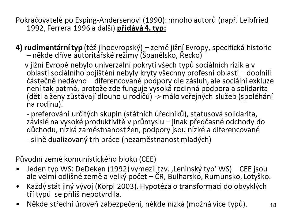 Pokračovatelé po Esping-Andersenovi (1990): mnoho autorů (např. Leibfried 1992, Ferrera 1996 a další) přidává 4. typ: 4) rudimentární typ (též jihoevr