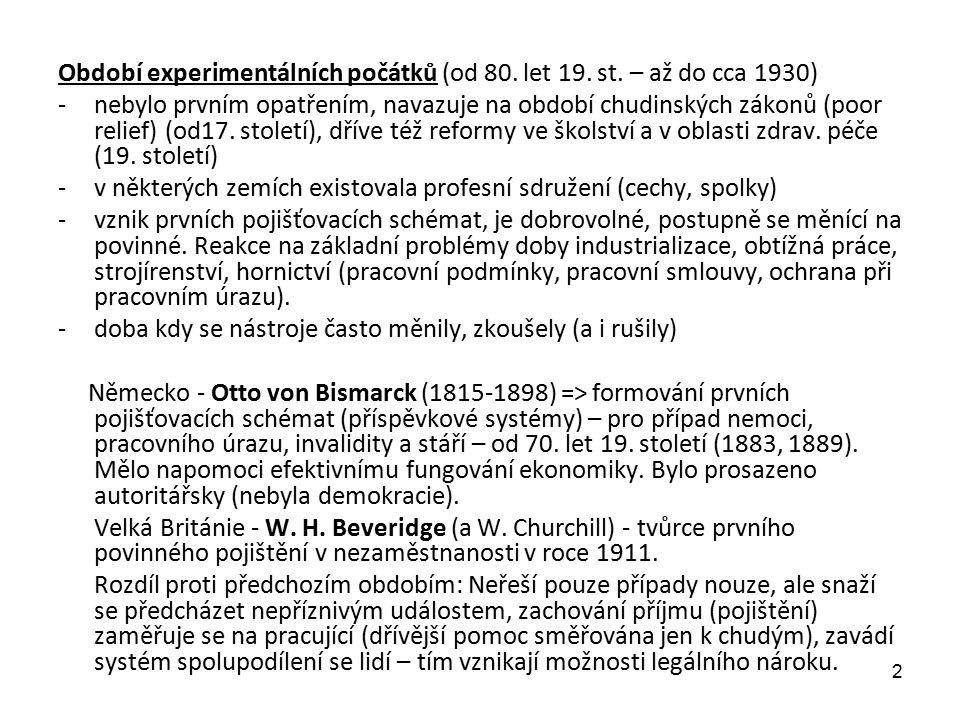 Období experimentálních počátků (od 80. let 19. st. – až do cca 1930) -nebylo prvním opatřením, navazuje na období chudinských zákonů (poor relief) (o