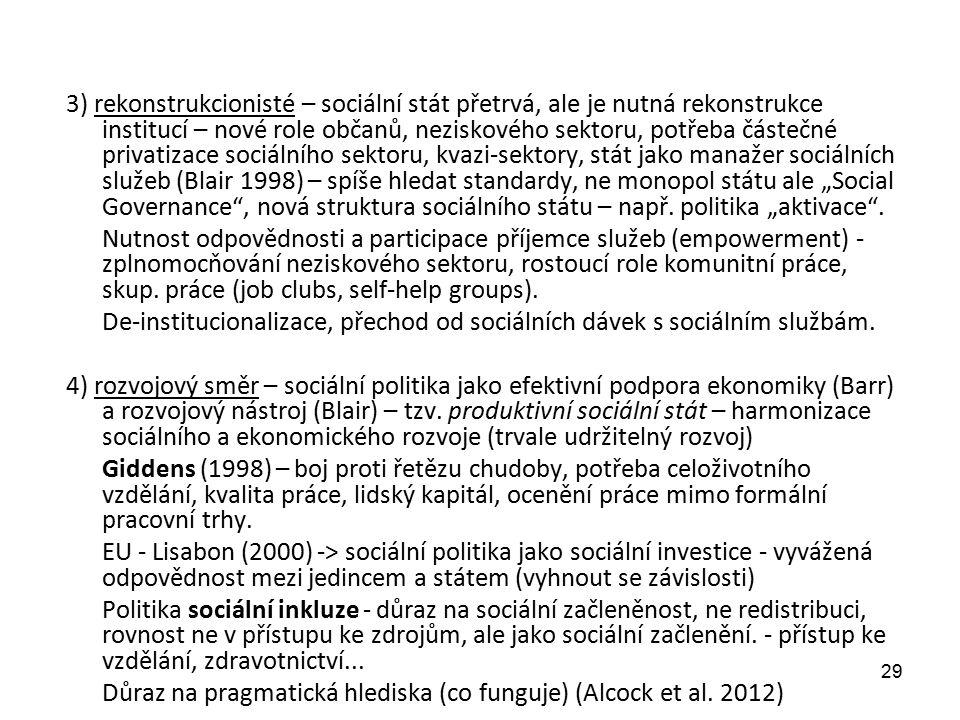 """3) rekonstrukcionisté – sociální stát přetrvá, ale je nutná rekonstrukce institucí – nové role občanů, neziskového sektoru, potřeba částečné privatizace sociálního sektoru, kvazi-sektory, stát jako manažer sociálních služeb (Blair 1998) – spíše hledat standardy, ne monopol státu ale """"Social Governance , nová struktura sociálního státu – např."""