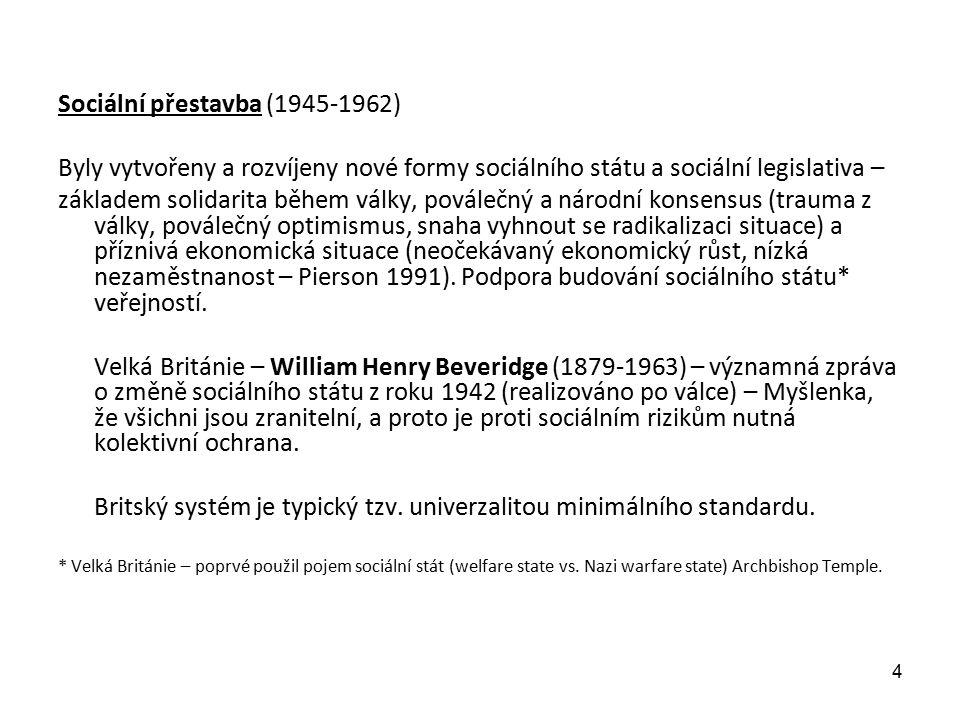 Sociální přestavba (1945-1962) Byly vytvořeny a rozvíjeny nové formy sociálního státu a sociální legislativa – základem solidarita během války, poválečný a národní konsensus (trauma z války, poválečný optimismus, snaha vyhnout se radikalizaci situace) a příznivá ekonomická situace (neočekávaný ekonomický růst, nízká nezaměstnanost – Pierson 1991).
