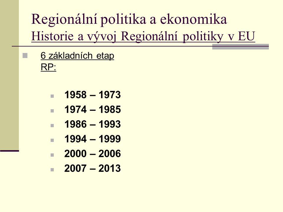 Regionální politika a ekonomika Historie a vývoj Regionální politiky v EU 6 základních etap RP: 1958 – 1973 1974 – 1985 1986 – 1993 1994 – 1999 2000 – 2006 2007 – 2013