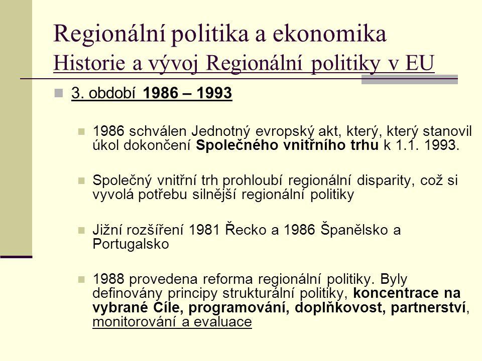 Regionální politika a ekonomika Historie a vývoj Regionální politiky v EU 3.