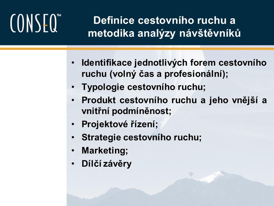 Definice cestovního ruchu a metodika analýzy návštěvníků Identifikace jednotlivých forem cestovního ruchu (volný čas a profesionální); Typologie cesto