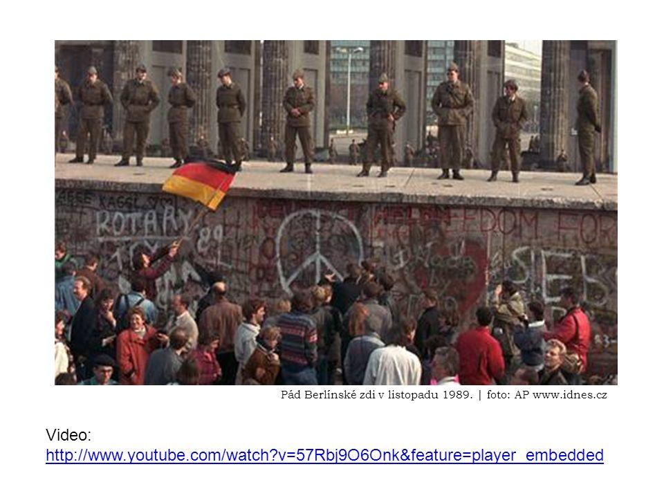 Video: http://www.youtube.com/watch v=57Rbj9O6Onk&feature=player_embedded http://www.youtube.com/watch v=57Rbj9O6Onk&feature=player_embedded Pád Berlínské zdi v listopadu 1989.