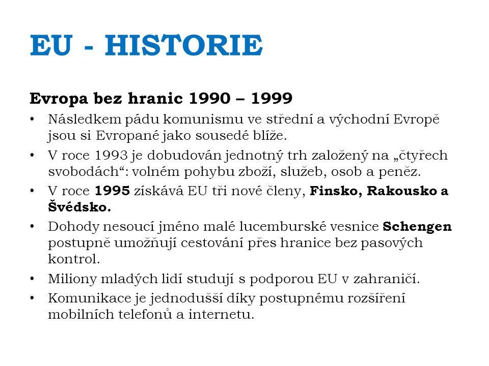 EU - HISTORIE Evropa bez hranic 1990 – 1999 Následkem pádu komunismu ve střední a východní Evropě jsou si Evropané jako sousedé blíže. V roce 1993 je