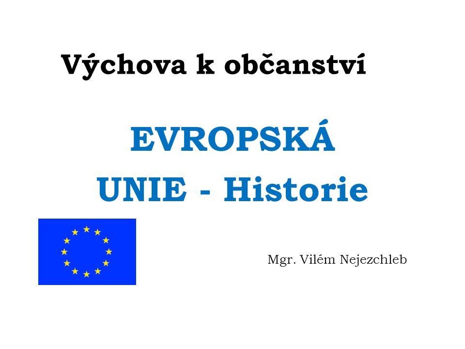 Výchova k občanství EVROPSKÁ UNIE - Historie Mgr. Vilém Nejezchleb