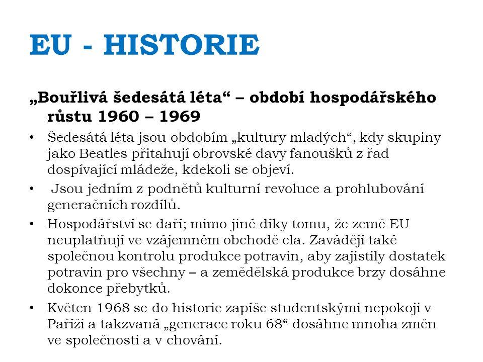 """EU - HISTORIE """"Bouřlivá šedesátá léta – období hospodářského růstu 1960 – 1969 Šedesátá léta jsou obdobím """"kultury mladých , kdy skupiny jako Beatles přitahují obrovské davy fanoušků z řad dospívající mládeže, kdekoli se objeví."""