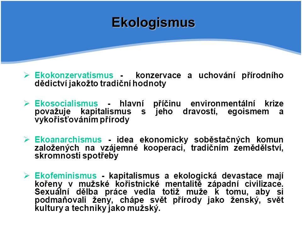 Ekologismus  Ekokonzervatismus - konzervace a uchování přírodního dědictví jakožto tradiční hodnoty  Ekosocialismus - hlavní příčinu environmentální