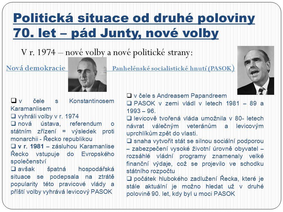 Politická situace od druhé poloviny 70.let – pád Junty, nové volby V r.