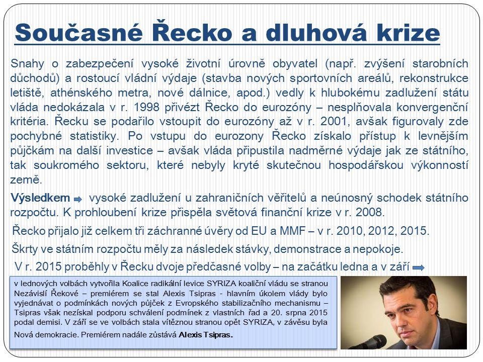 Současné Řecko a dluhová krize Snahy o zabezpečení vysoké životní úrovně obyvatel (např.