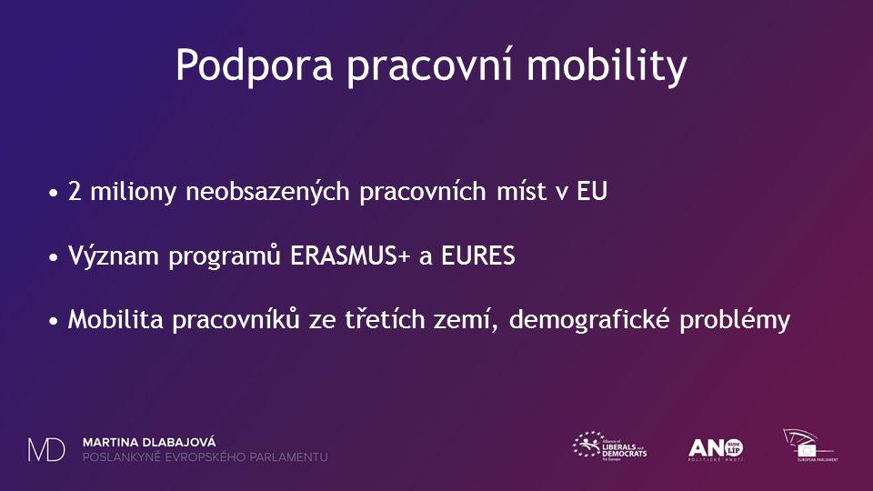 Podpora pracovní mobility 2 miliony neobsazených pracovních míst v EU Význam programů ERASMUS+ a EURES Mobilita pracovníků ze třetích zemí, demografické problémy