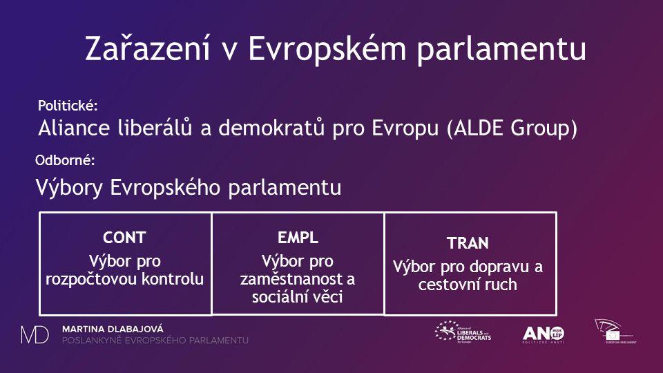 AL Odborné: Výbory Evropského parlamentu CONT Výbor pro rozpočtovou kontrolu EMPL Výbor pro zaměstnanost a sociální věci TRAN Výbor pro dopravu a cestovní ruch Zařazení v Evropském parlamentu Politické: Aliance liberálů a demokratů pro Evropu (ALDE Group)