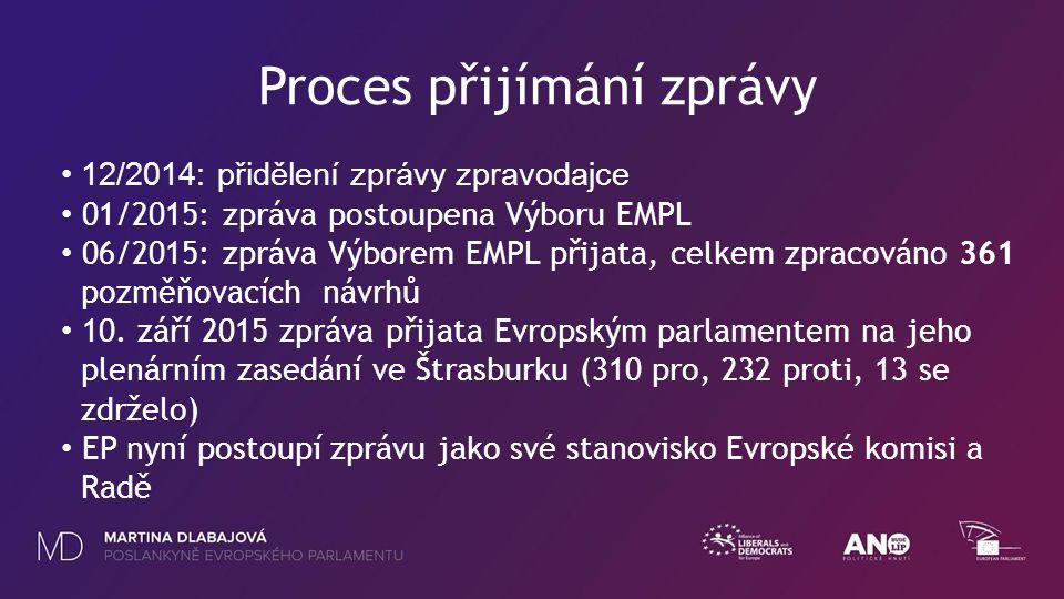 Proces přijímání zprávy 12/2014: přidělení zprávy zpravodajce 01/2015: zpráva postoupena Výboru EMPL 06/2015: zpráva Výborem EMPL přijata, celkem zpracováno 361 pozměňovacích návrhů 10.