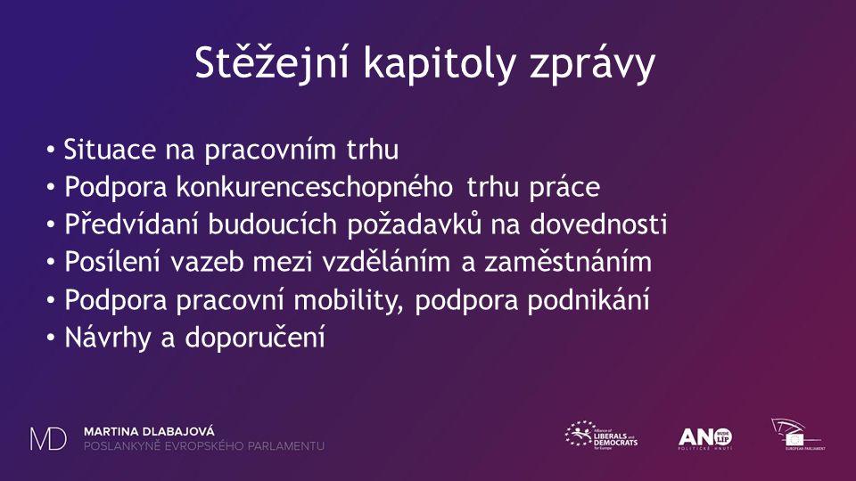 Stěžejní kapitoly zprávy Situace na pracovním trhu Podpora konkurenceschopného trhu práce Předvídaní budoucích požadavků na dovednosti Posílení vazeb mezi vzděláním a zaměstnáním Podpora pracovní mobility, podpora podnikání Návrhy a doporučení