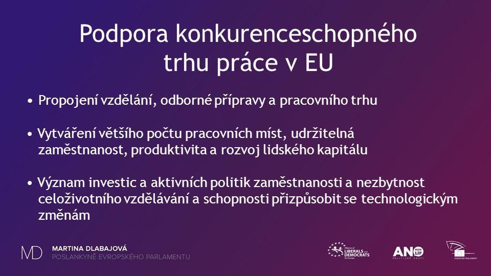 Podpora konkurenceschopného trhu práce v EU Propojení vzdělání, odborné přípravy a pracovního trhu Vytváření většího počtu pracovních míst, udržitelná zaměstnanost, produktivita a rozvoj lidského kapitálu Význam investic a aktivních politik zaměstnanosti a nezbytnost celoživotního vzdělávání a schopnosti přizpůsobit se technologickým změnám