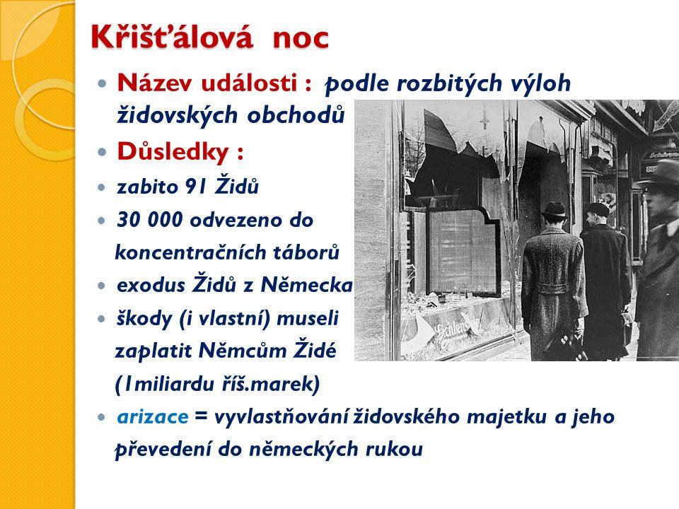 Křišťálová noc Název události : podle rozbitých výloh židovských obchodů Důsledky : zabito 91 Židů 30 000 odvezeno do koncentračních táborů exodus Židů z Německa škody (i vlastní) museli zaplatit Němcům Židé (1miliardu říš.marek) arizace = vyvlastňování židovského majetku a jeho převedení do německých rukou