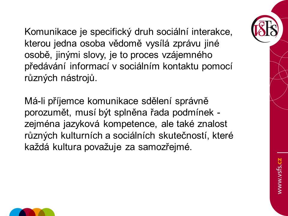 Význam interkulturní komunikace Procesy verbálního a neverbálního sdělení v různých sociálních situacích.