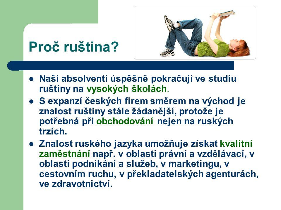Proč ruština. Naši absolventi úspěšně pokračují ve studiu ruštiny na vysokých školách.