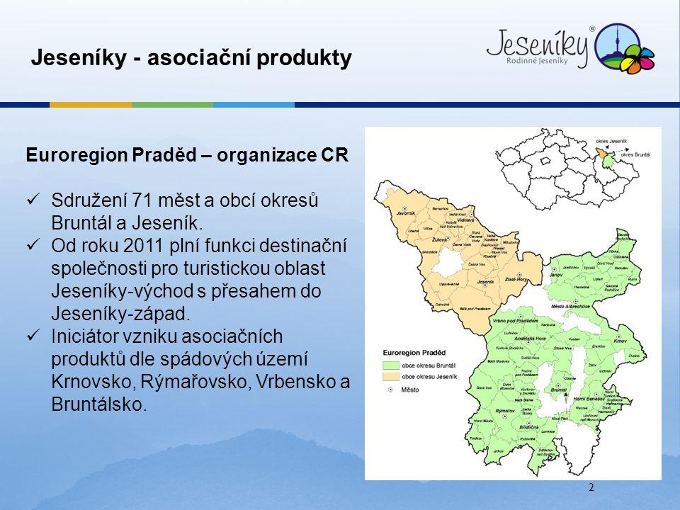 2 Jeseníky - asociační produkty Euroregion Praděd – organizace CR Sdružení 71 měst a obcí okresů Bruntál a Jeseník. Od roku 2011 plní funkci destinačn