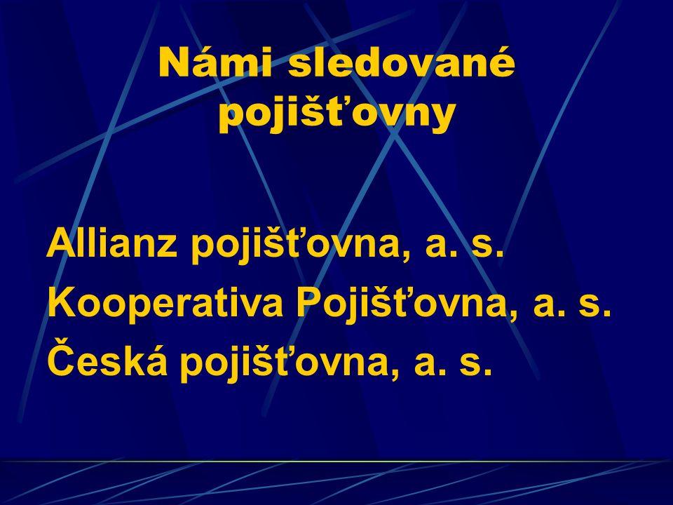 Námi sledované pojišťovny Allianz pojišťovna, a. s. Kooperativa Pojišťovna, a. s. Česká pojišťovna, a. s.